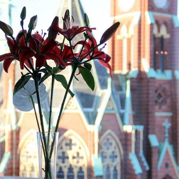 Blommor och Oscar Fredriks kyrka tagen från Tandvårdsgruppen